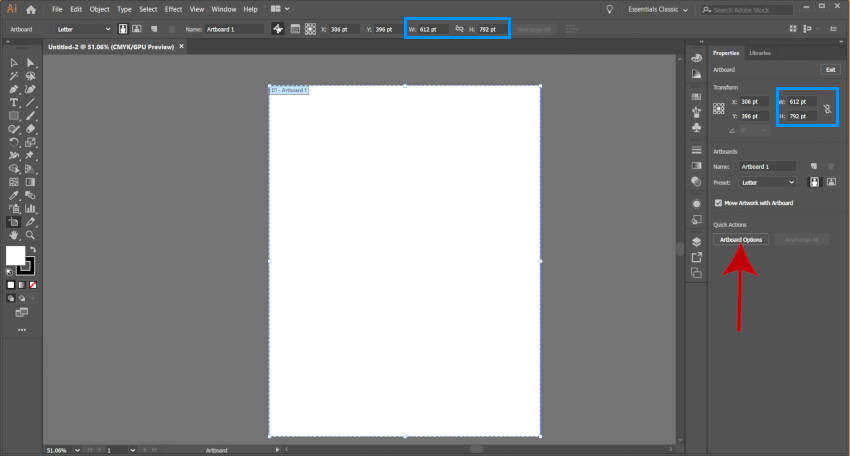 Editați Adobe Illustrator Artboard Width and Height