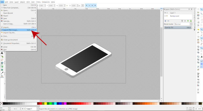 Файл Экспорт PNG изображения Inkscape Tutorial