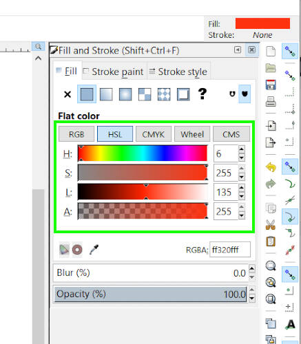 Aizpildīšanas un insultu dialogs Inkscape vs Illustrator