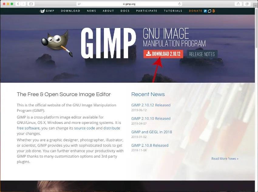 Начална страница на официалния сайт на GIMP