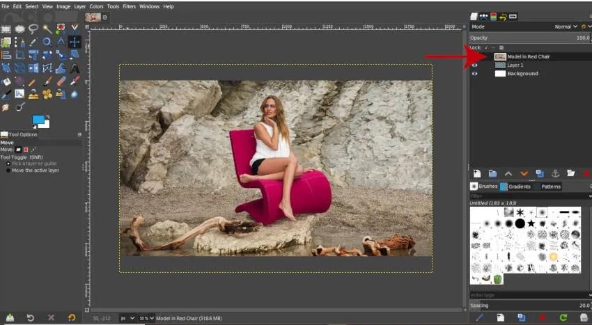 Otvori kao slojevi Novi sloj kreiran GIMP