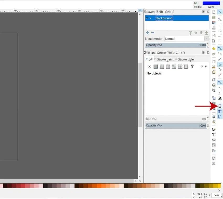 Klõpsa lehekülje piiri ikoonile Inkscape