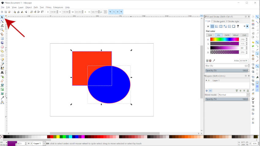 selecting multiple shapes in Inkscape