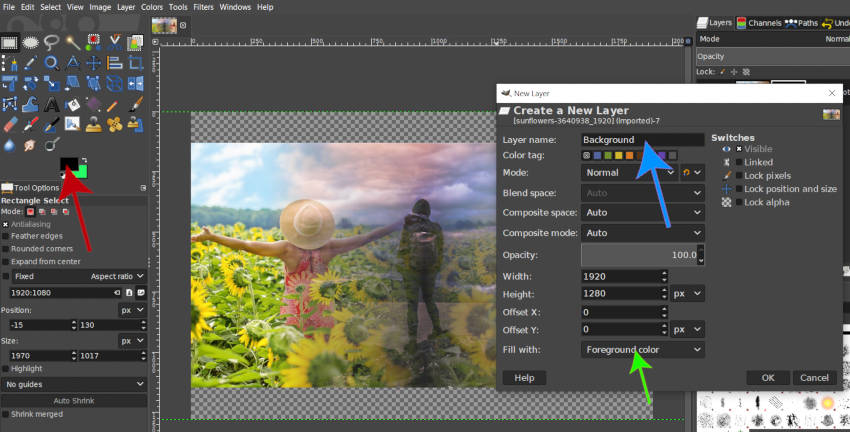 Create a New Layer Panel GIMP Layer Group Tutorial