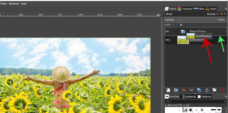 Drag and drop a layer into GIMP layer group tutorial