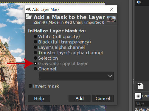 Grayscale Copy of Layer GIMP Layer Mask