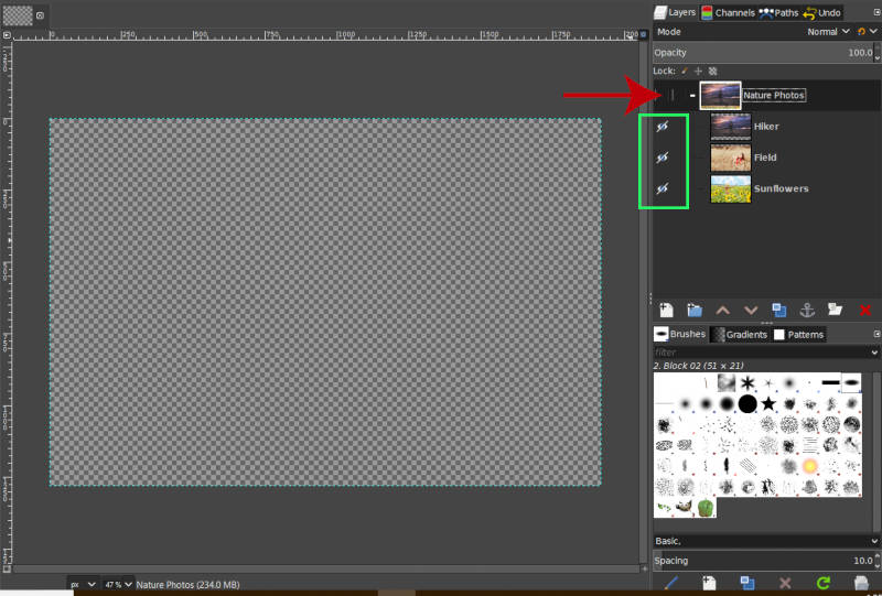 Hide Layers Inside a Layer Group in GIMP