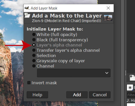 Initiera Layer Mask till Layers Alpha Channel GIMP