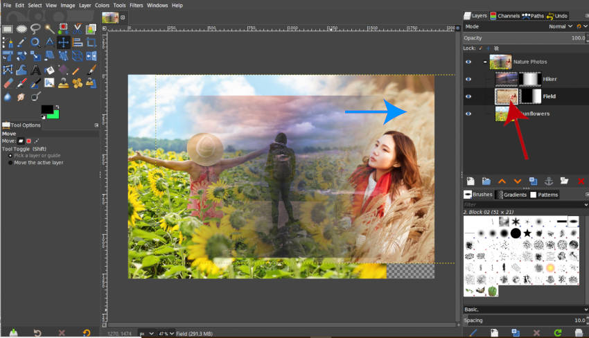 Moving a Layer in a Layer Group GIMP 2019 2