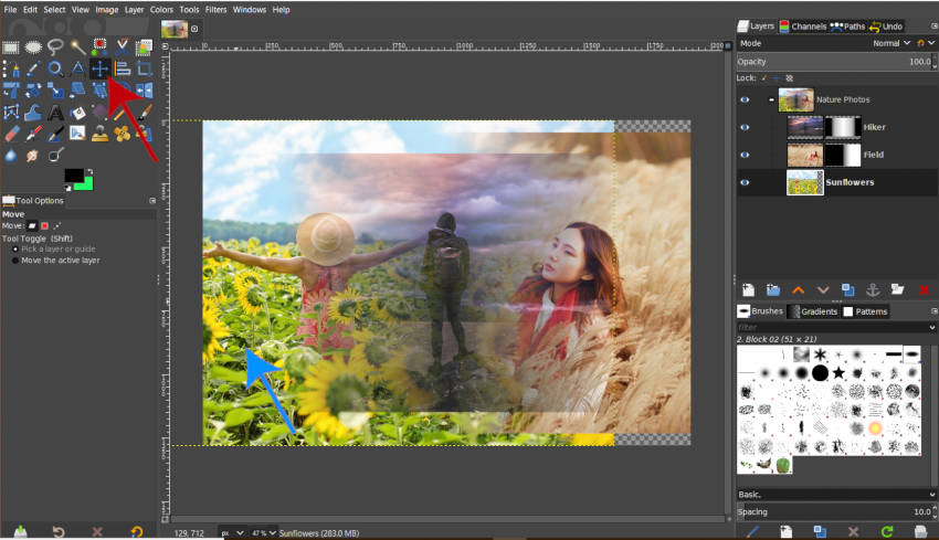 Moving a Layer in a Layer Group GIMP 2019