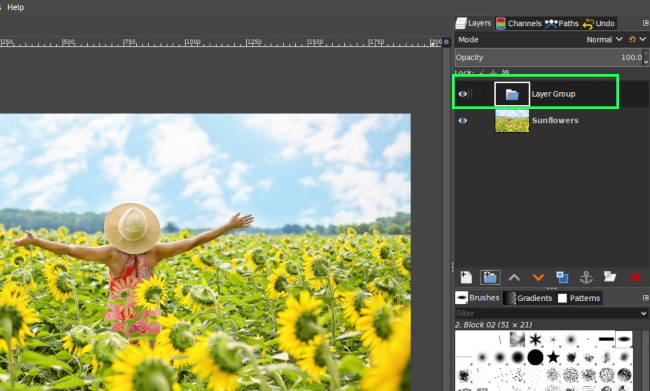 New Layer Group in the GIMP Layers Panel