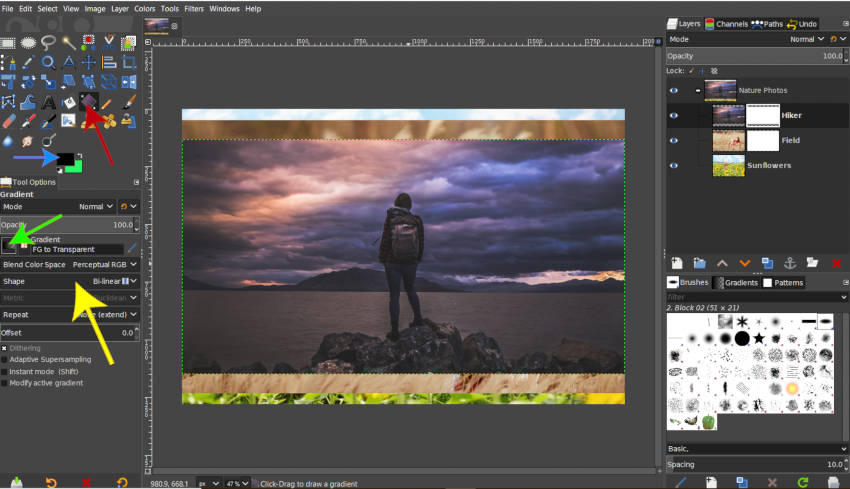 Set Up Gradient Tool for Layer Mask