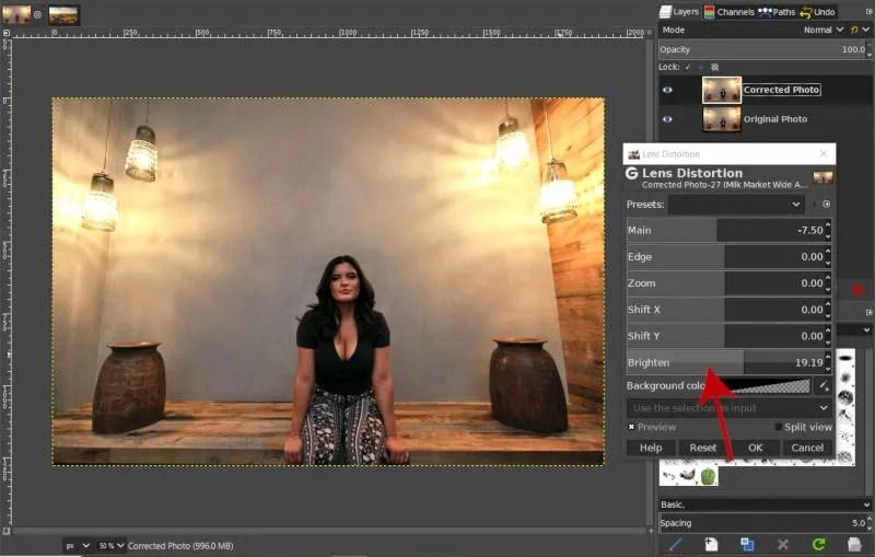 Correct Vignetting with Brighten Slider Lens Distortion Filter