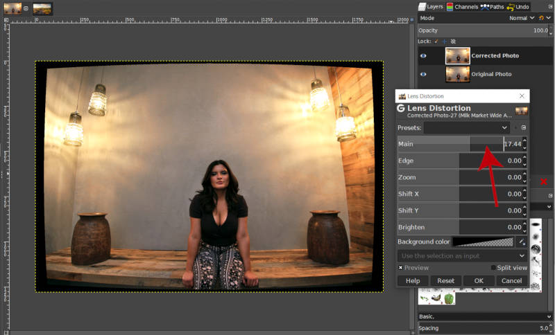 Create Negative Distortion with Main Slider GIMP