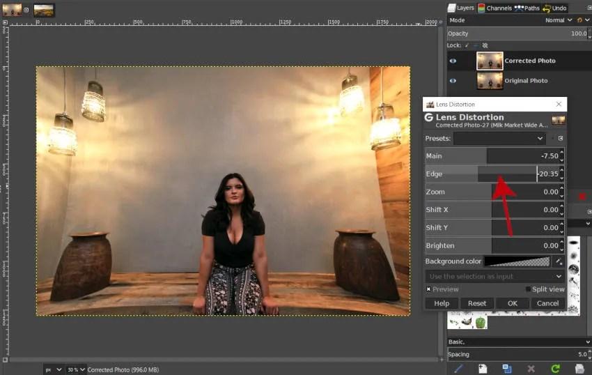 Create Positive Distortion with Edge Slider GIMP