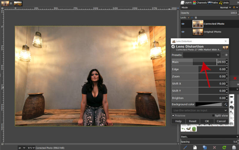 Create Positive Distortion with Main Slider GIMP