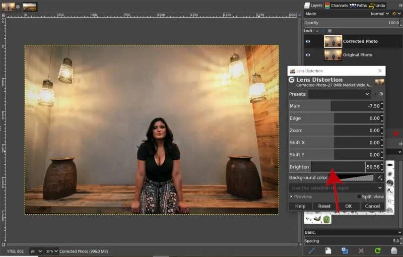 Lens Distortion Brighten Slider GIMP