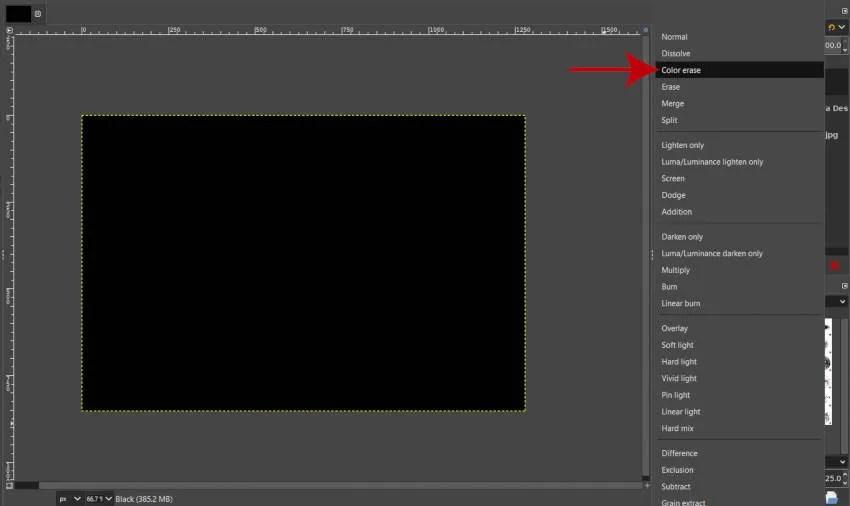 Barvni način brisanja sloja na Rain Overlay GIMP