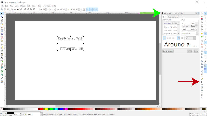 Inkscape Text and Fonts Dialogue Wrap Text Around Circle