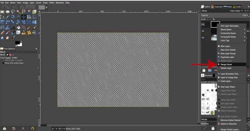 Spojite črno z deževno slikovno lestvico GIMP