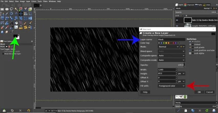 Novi crni sloj GIMP bez kiše