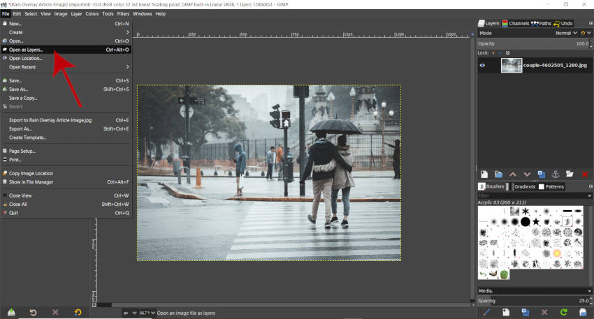 Apri come livelli GIMP Rain Pack Download