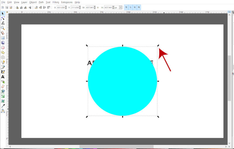Scale circle Using Transform Handle in Inkscape
