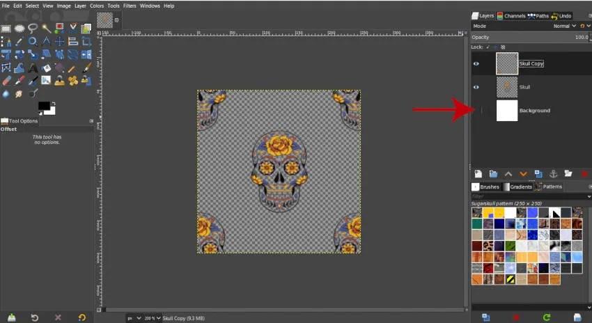 Skjul baggrundslag GIMP brugerdefineret mønster