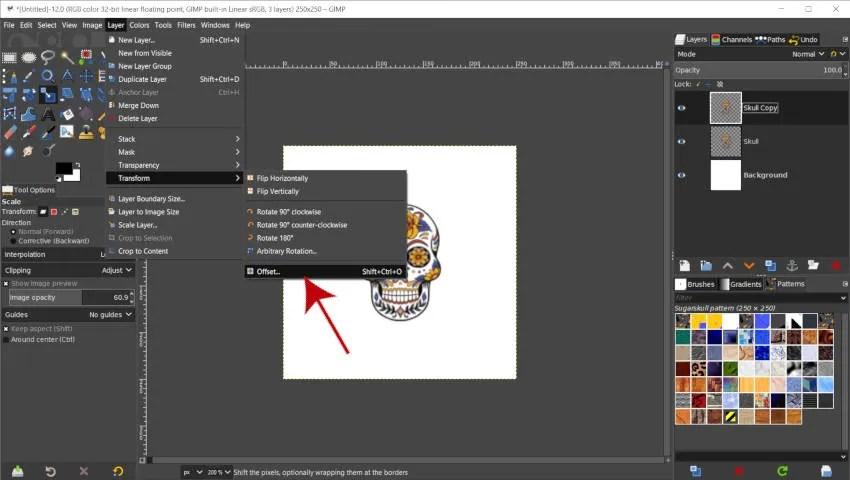 Herramienta de desplazamiento de transformación de capa GIMP 2020