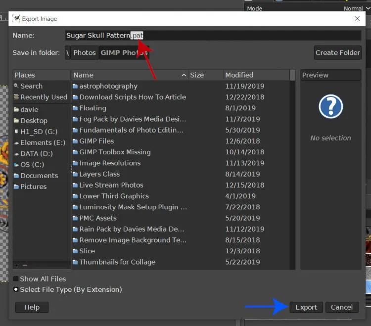 PAT-filtype GIMP-mønstermappe