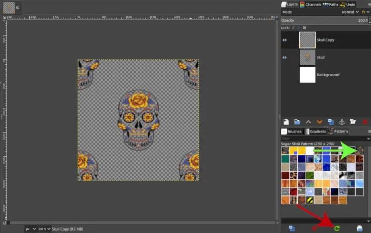 Osvežite vzorce v GIMP 2 10 14