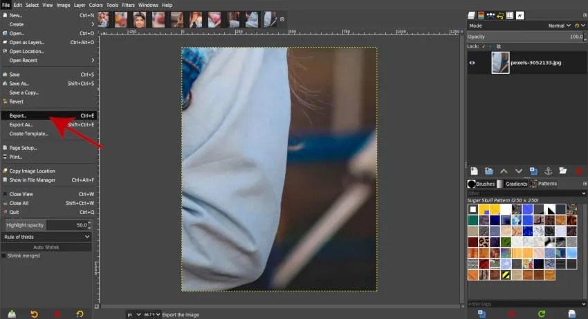 Εξαγωγή αρχείου για εξαγωγή τεμαχίων σε GIMP του Instagram