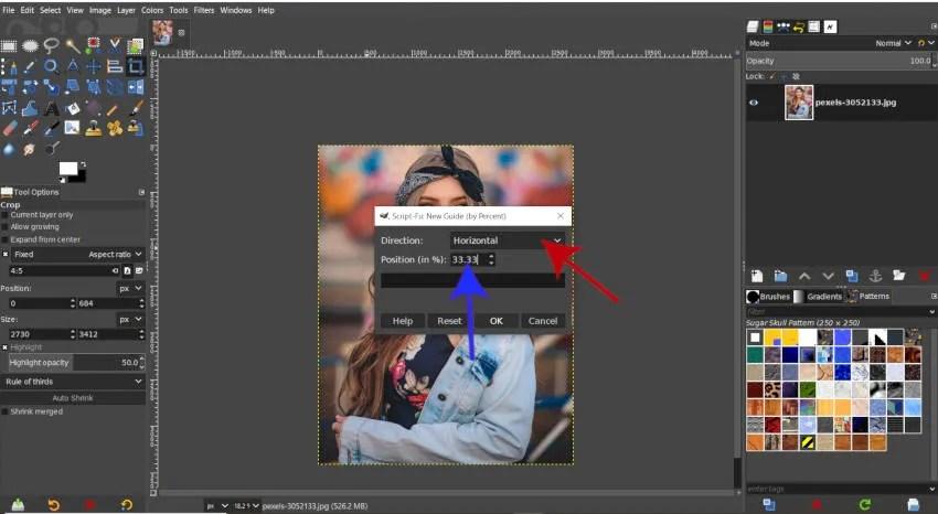 Nouveau guide horizontal 33 pour cent GIMP