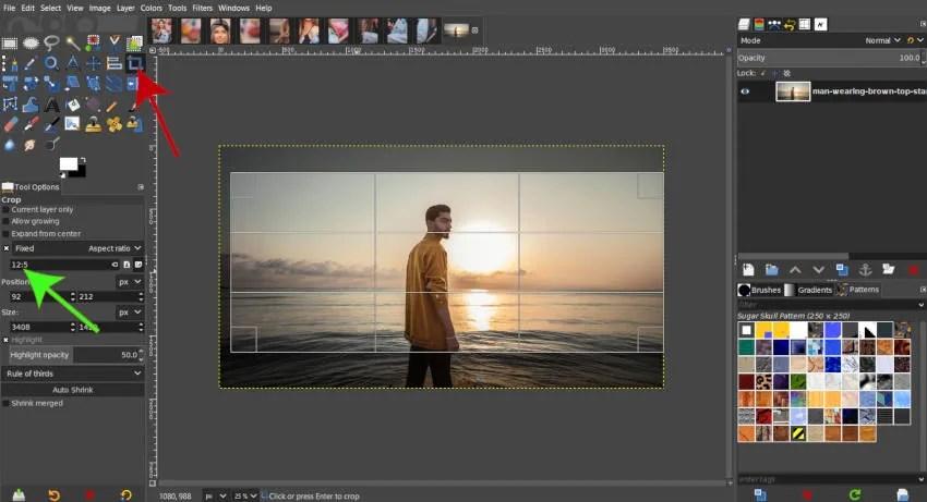 Ställa in en anpassad bildförhållande för beskärning av GIMP-handledning