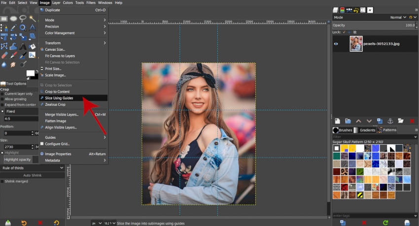 Slice an Image using Guides in GIMP Instagram Tutorial