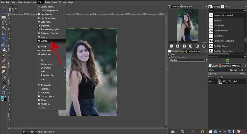 Acceso a la herramienta Curvas GIMP 2 10 2020