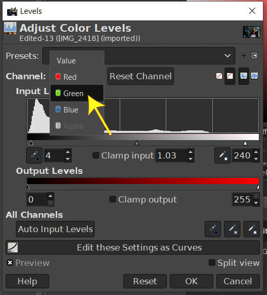 Change Channel to Green Level GIMP Photo editing