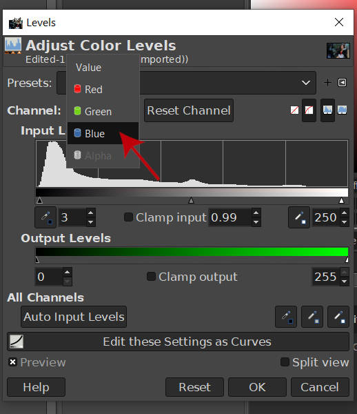 Change Color Channel to Blue Channel GIMP 2020