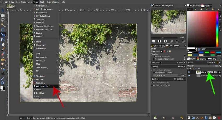 Färger Färg till Alpha GIMP 2 10 18-filter