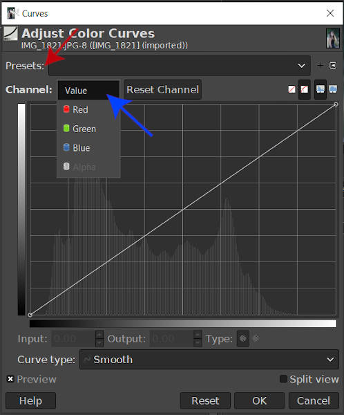 Curves Tool Value Box GIMP 2020
