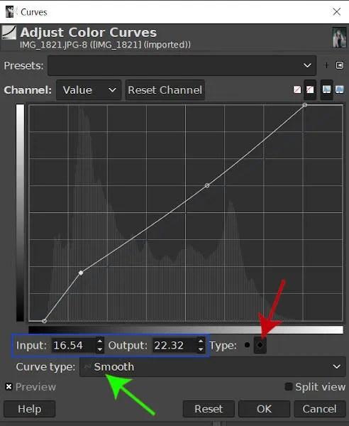 इनपुट और आउटपुट वैल्यू फील्ड्स GIMP घटता है टूल ट्यूटोरियल
