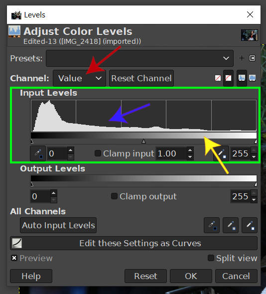 Levels Tool In Depth Look GIMP 2020