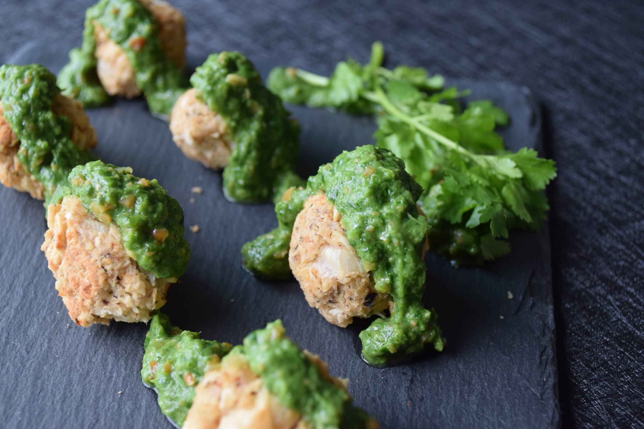 'Neatballs' with Spinach Coriander Sauce