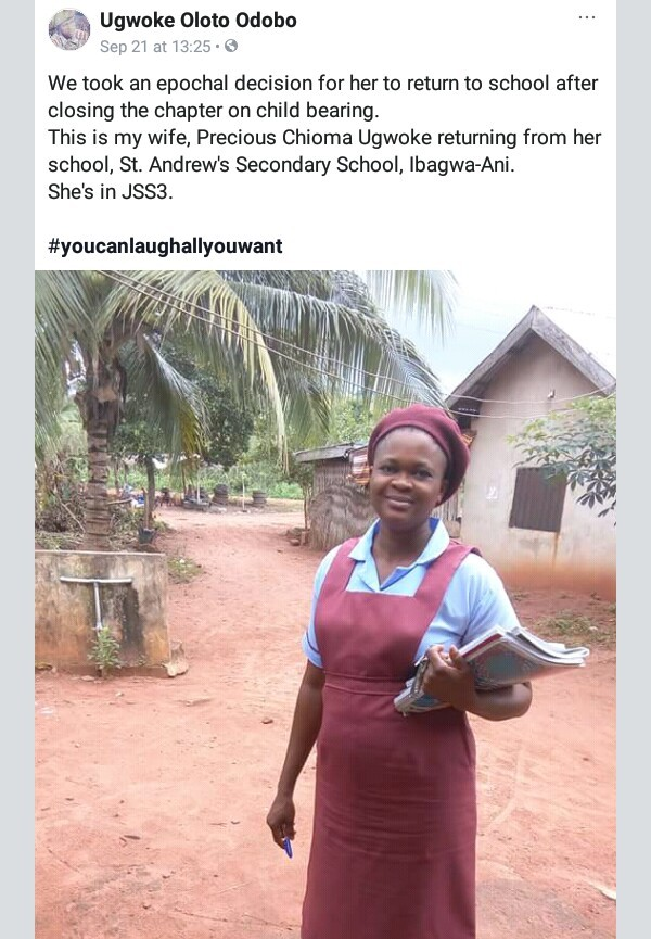 Nigerian woman returns to Secondary school after child bearing | PHOTO