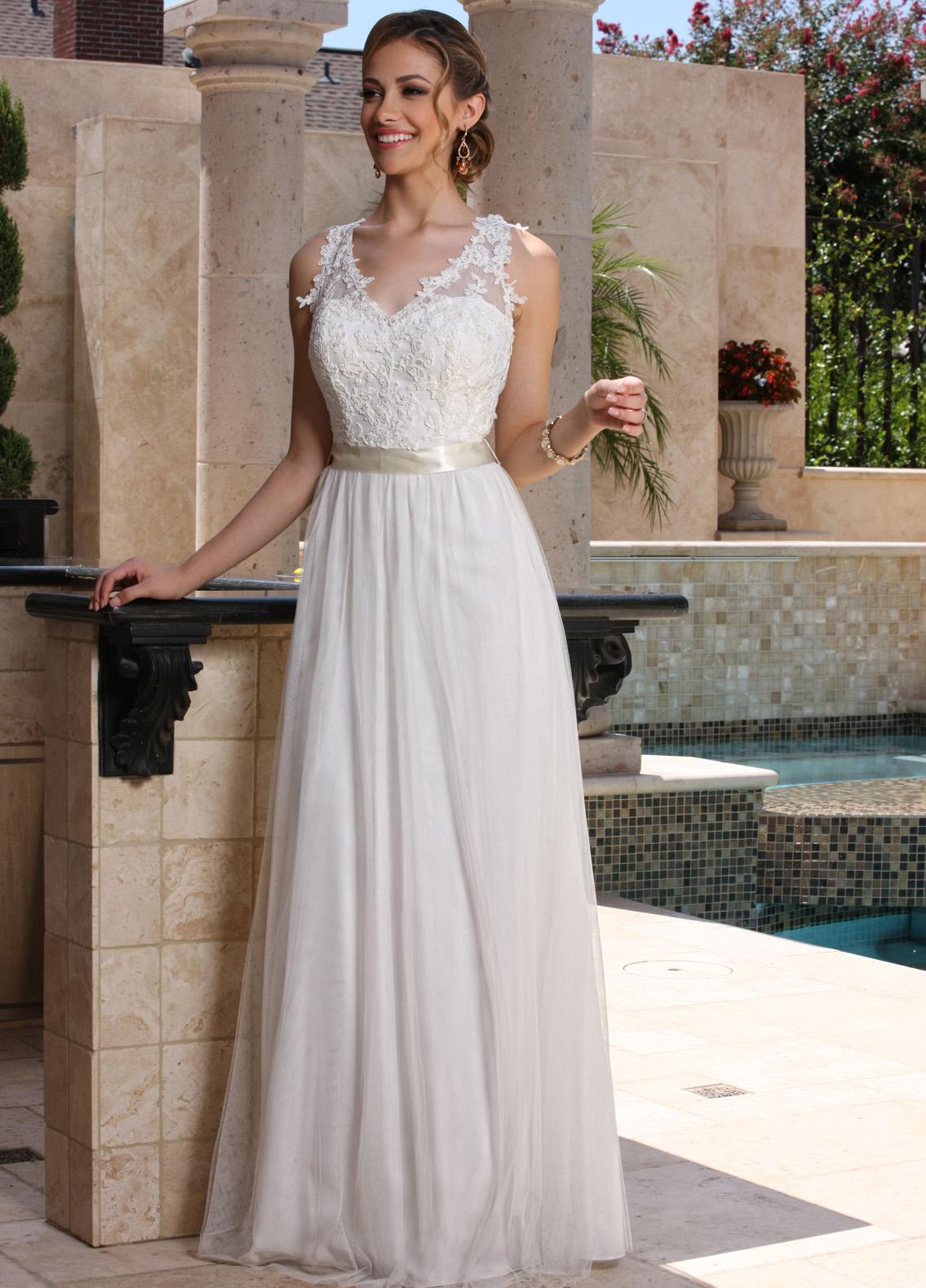 Lace Chiffon Wedding Dress with Satin Bows