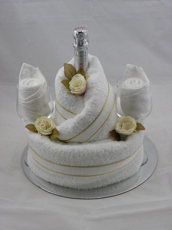 Bride & Groom Champagne Bridal Shower Towel Cake