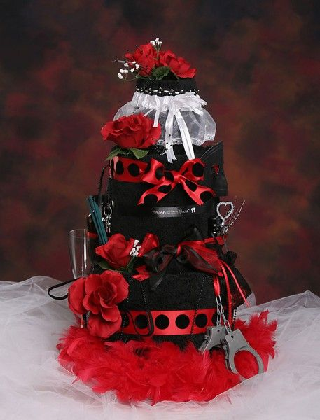 Red & Black Bachelorette Party Towel Cake