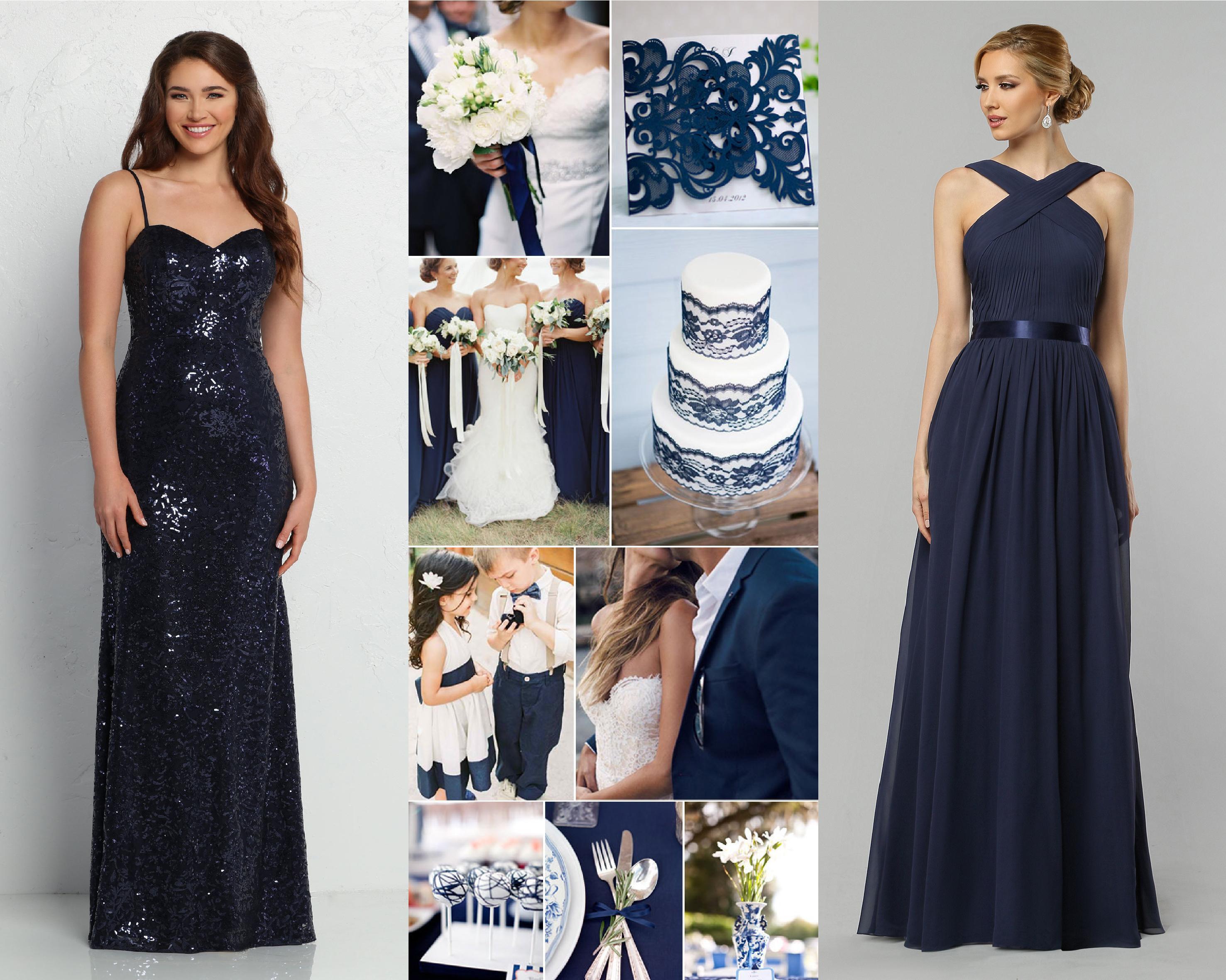 Classic Wedding Color Scheme White With Blue Bridesmaid Dresses Davinci Bridal Blog,Lace Empire Waist Plus Size Wedding Dresses