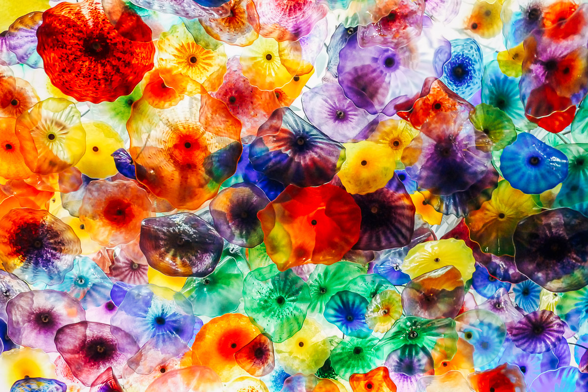 Abstract image of a ceiling covered with colourful glass shaped like flowers.