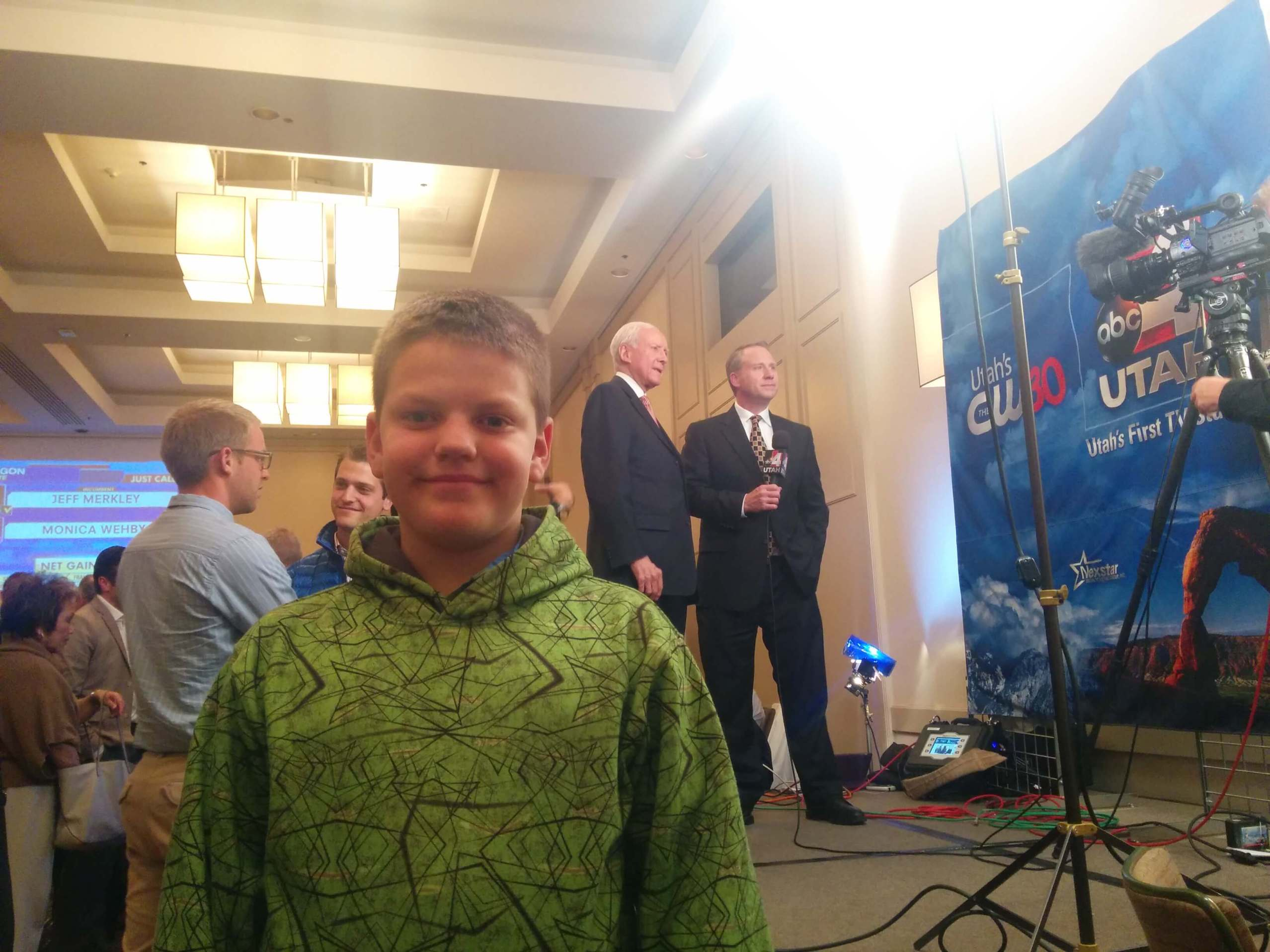 TARs recruit Porter poses with Senator Hatch durning an interview
